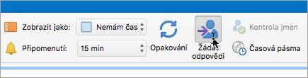 Snímek obrazovky s tlačítkem Žádat odpovědi v Outlooku 2016 pro Mac