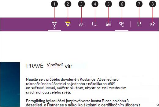 Snímek obrazovky s poznámkami a zvýrazněnými větami na webových stránkách