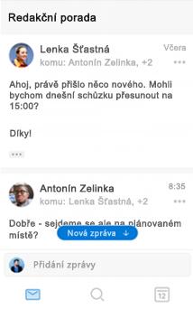 Nové prostředí konverzací v Outlooku pro iOS