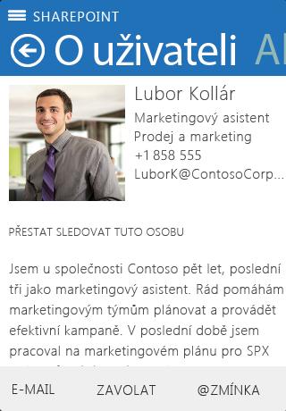Snímek obrazovky Informace v SharePointu Newsfeed