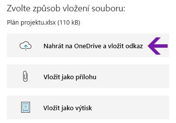 Možnosti vložení souboru ve OneNotu pro Windows 10.