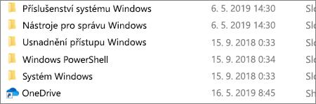 Snímek obrazovky znázorňující aplikaci OneDrive v Průzkumníkovi souborů