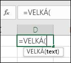 Snímek obrazovky s panelem nástrojů s informacemi o funkci