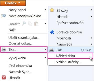 Náhled tisku ve Firefoxu