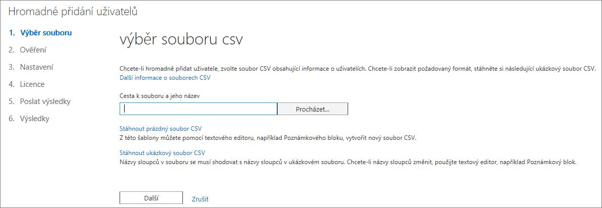 Krok 1 v průvodci Hromadné přidání uživatelů – Výběr souboru CSV