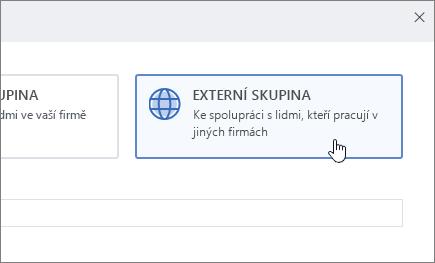Snímek obrazovky znázorňující obrazovku vytvořit skupinu v Yammeru s vybranou položkou externí skupina