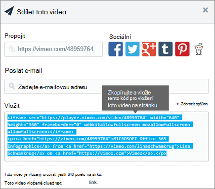 Příklad použití kódu pro vložení k vložení obsahu na stránce SharePointu