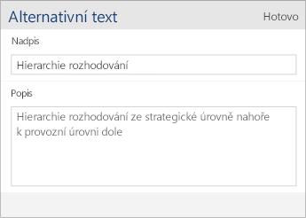 Snímek obrazovky dialogu s alternativním textem ve Wordu Mobile obsahující pole Název a Popis