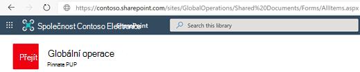 Knihovna dokumentů se zobrazenou adresou URL na panelu Adresa