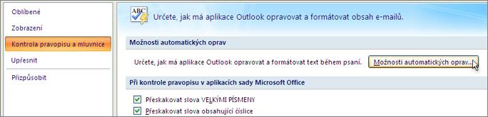 Zobrazení dialogového okna Automatické opravy