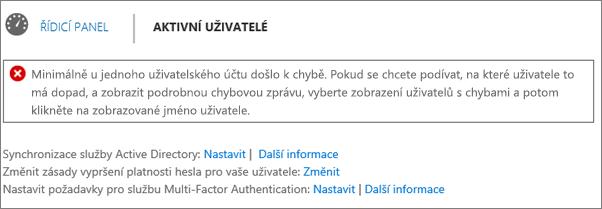 Prohlášení o chybě při synchronizaci adresáře nahoře na stránce Aktivní uživatelé