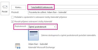 Pozvánka k externímu sdílení  e-mailu v poštovní schránce – pole Komu a nastavení podrobností