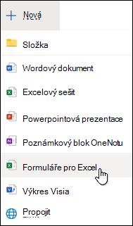 Možnost vložení formuláře pro Excel v Excelu Online