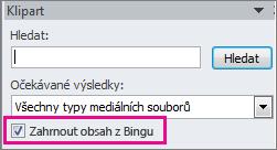 Zaškrtávací políčko Zahrnout obsah z Bingu