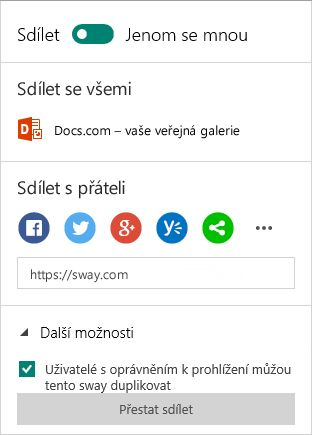 Možnosti sdílení ve Swayi (účet Microsoft)