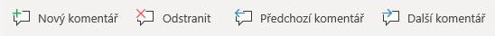Tlačítka pro komentáře ve Windows Mobile: Vytvoření nového komentáře, odstranění aktuálního komentáře, přechod na předchozí komentář a přechod na následující komentář