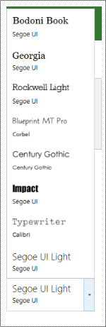 Rozevírací nabídka písmo návrhu webu v Projectu Online.