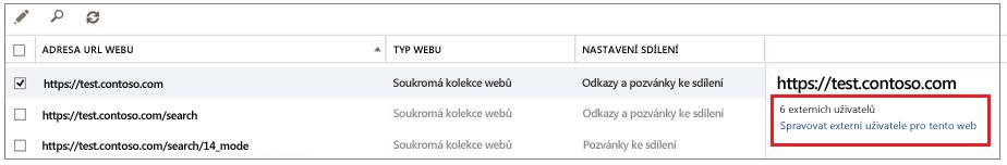 Obrazovka pro sdílení webů se zvýrazněným odkazem Spravovat externí uživatele