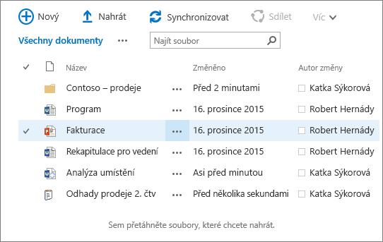 Dialogové okno knihovny dokumentů SharePointu s několika soubory