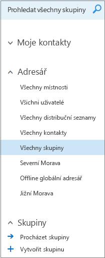Složky a adresáře, které se zobrazí při procházení skupin v kalendáři pro Outlook na webu pro firmy