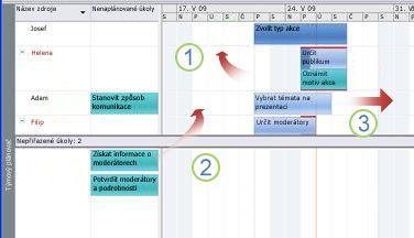 Přesunutí úkolů v zobrazení Týmový plánovač