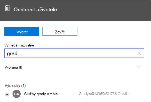 Snímek obrazovky ukazující příkaz k odstranění uživatele ve správě Office 365