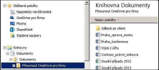 Přípravná složka po přesunutí souborů ze synchronizované složky OneDrive pro firmy na SharePointu