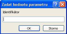 """Zobrazuje příklad neočekávaného dialogového okna Zadat hodnotu parametru s identifikátorem označeným """"SomeIdentifier"""", polem, do kterého se má zadat hodnota, a tlačítka OK a Cancel."""