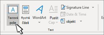 Tlačítko Vložit textové pole