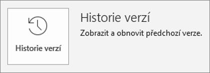 Tlačítko pro historii verzí na stránce s informacemi