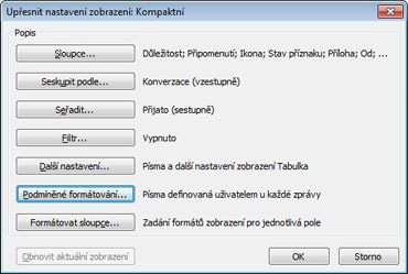 Dialogové okno Upřesnit nastavení zobrazení
