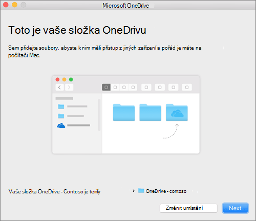 Snímek obrazovky Toto je vaše složka OneDrive po výběru složky v průvodci Vítá vás OneDrive na Macu