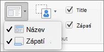 Snímek obrazovky s možnostmi nadpisu a zápatí dostupnými ve skupině rozložení předlohy.