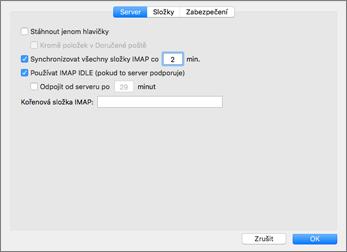Nastavení serveru účtu IMAP pro Outlook 2016 pro Mac