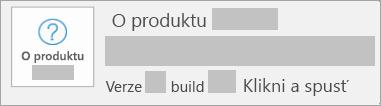 Snímek obrazovky s verzí a buildem pro Klikni a spusť
