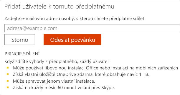 Snímek obrazovky s dialogovým oknem Přidat uživatele k tomuto předplatnému