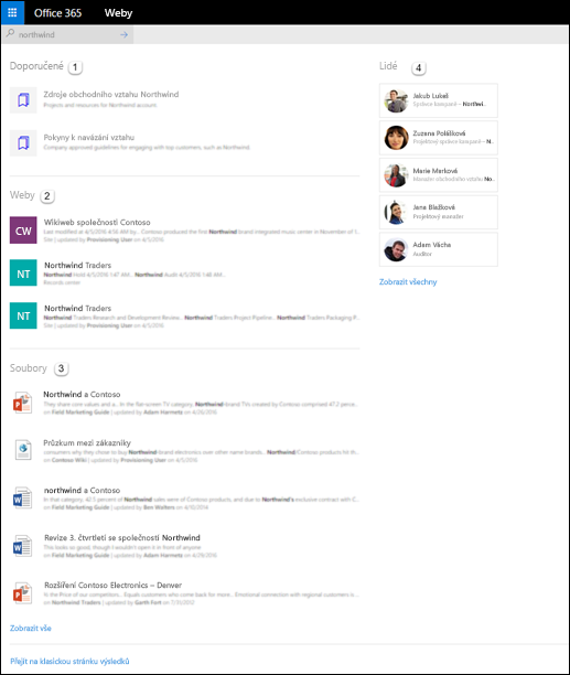 Domovská stránka služby SharePoint – výsledky hledání