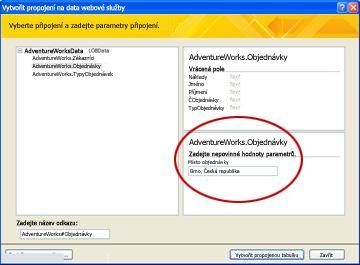 Parametr datového připojení webové služby