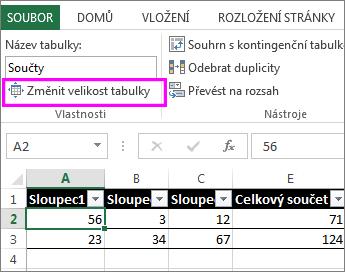 Použití možnosti Změnit velikost tabulky v Nástrojích tabulky