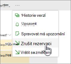 Klikněte na Zrušit rezervaci zrušení změn v souboru a zrušit rezervaci
