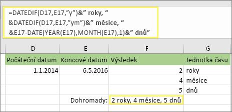 """= DATEDIF (D17, E17, """"y"""") & """"let,"""" &DATEDIF (D17, E17, """"YM"""") & """"počet měsíců,"""" &DATEDIF (D17, E17, """"MD"""") & """"dnů"""" a výsledek: 2 roky, 4 měsíce, 5 dní."""