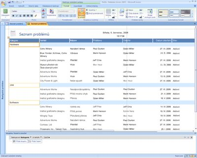 Úpravy sestav v Office Accessu 2007