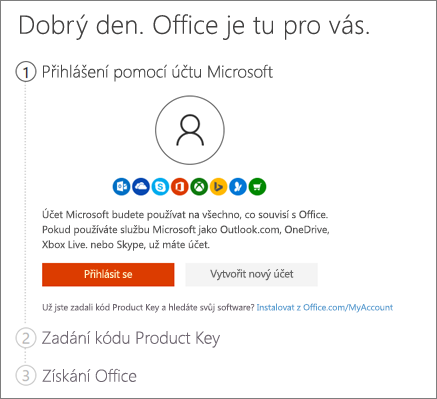 Zobrazuje úvodní stránku pro setup.office.com.