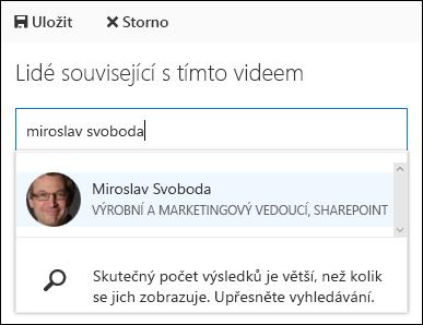 Office 365 Video přiřazení lidí