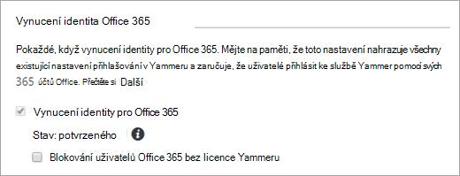 Snímek obrazovky zaškrtávacího políčka Blokovat uživatele Office 365 bez licencí Yammeru v nastavení zabezpečení Yammeru