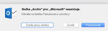 Tato zpráva se zobrazí, když v Outlooku 2016 pro Mac poprvé použijete tlačítko Archiv.