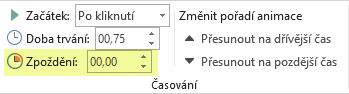 Možnost Zpoždění pro animační efekty v PowerPointu