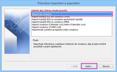 Průvodce exportem v Outlooku – Exportovat do souboru