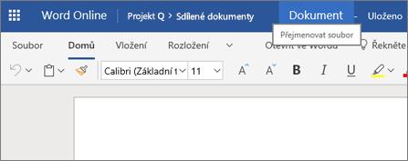 Kliknutím na záhlaví změníte název dokumentu Wordu Online.