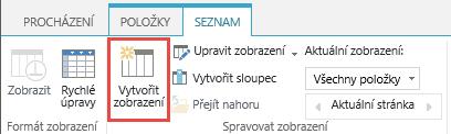 Vytvoření knihovny SharePoint tlačítko zobrazení na pásu karet.